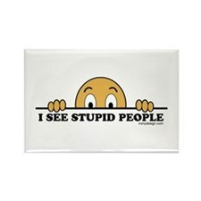 I See Stupid People Rectangle Magnet