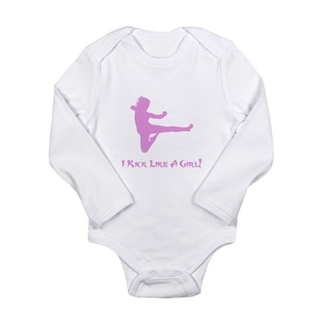 Kick Like A Girl! Long Sleeve Infant Bodysuit