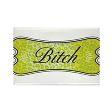 Lime Green Leopard Bitch Rectangle Magnet