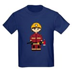 Cute UK Firefighter Kids Dark T-Shirt