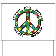 Autism Peace Sign Yard Sign
