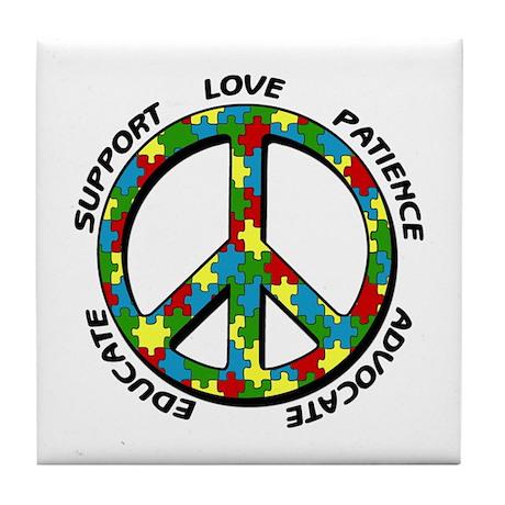 Autism Peace Sign Tile Coaster