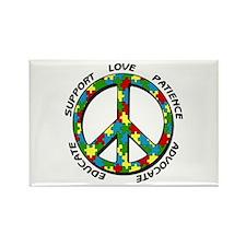 Autism Peace Sign Rectangle Magnet