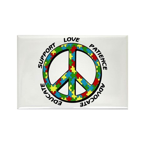Autism Peace Sign Rectangle Magnet