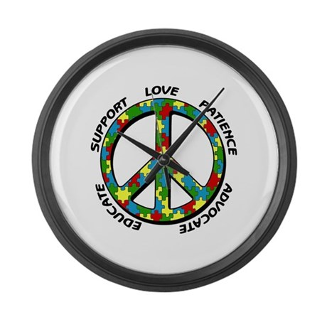 Autism Peace Sign Large Wall Clock