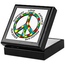 Autism Peace Sign Keepsake Box