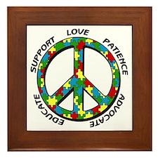 Autism Peace Sign Framed Tile