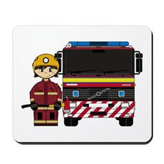 Cute Firefighter and Fire Engine Mousepad