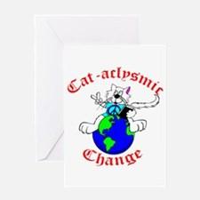 Cat-aclysmic Change Greeting Card