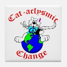 Cat-aclysmic Change Tile Coaster