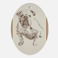 English Bulldog Ornament (Oval)