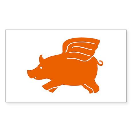 Flying Pig Rectangle Sticker