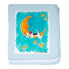 Wire Fox Terrier/Moon baby blanket