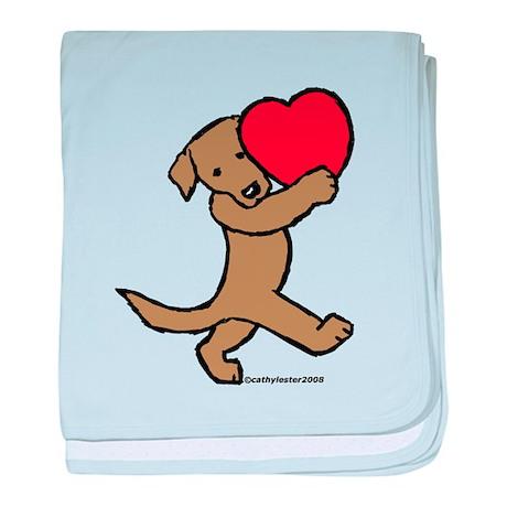 Lab (Chocolate) Heart baby blanket