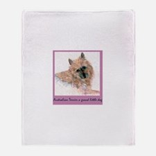 Red Australian Terrier FACE Throw Blanket