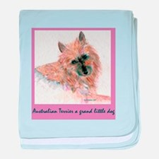 Red Australian Terrier FACE baby blanket