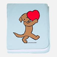 Chocolate Lab Valentine baby blanket