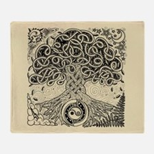 Celtic Tree of Life Ink Throw Blanket