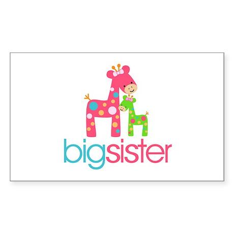 Funky Giraffe Big Sister Sticker (Rectangle)