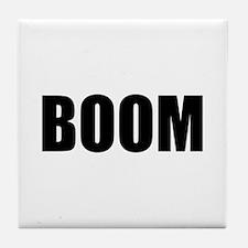 BOOM black-text Tile Coaster