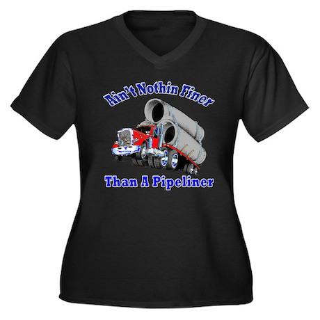 Women's Plus Size V-Neck Dark pipeline T-Shirt