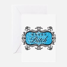 Blue Bossy Bitch Greeting Cards (Pk of 10)