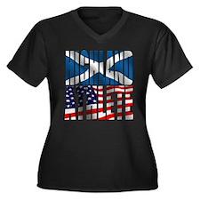 Highland Athlete Women's Plus Size V-Neck Dark T-S