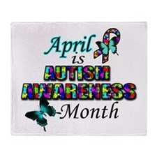 April Autism Awareness Throw Blanket