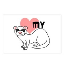 Love My Ferret - White Postcards (Package of 8)