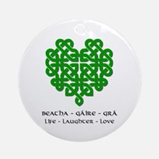 Celtic Heart (Green) Ornament (Round)