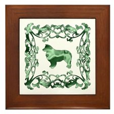 Australian Shepherd Dog Lattice Framed Tile