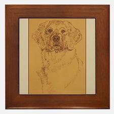 Golden Retriever Dog Art Framed Tile