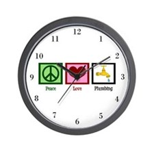Peace Love Plumbing Wall Clock