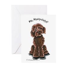 Chocolate Labradoodle Manipulate Greeting Card