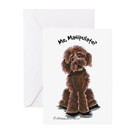 Chocolate Labradoodle Manipulate Greeting Cards (P