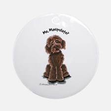 Chocolate Labradoodle Manipulate Ornament (Round)