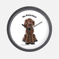 Chocolate Labradoodle Manipulate Wall Clock