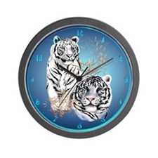 White Tigers Shirts Wall Clock