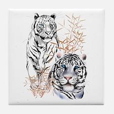 White Tigers Shirts Tile Coaster