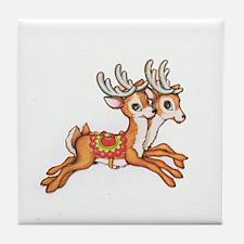 Vintage Christmas Reindeer Tile Coaster