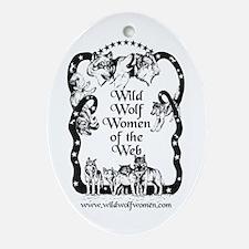 Wild Wolf Women Oval Ornament