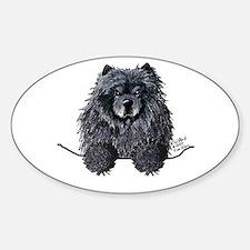 Black Chow Chow Sticker (Oval)