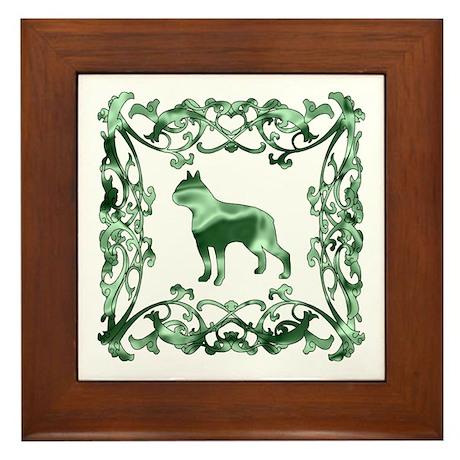 Boston Terrier Lattice Framed Tile
