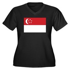 Singapore Flag Women's Plus Size V-Neck Dark T-Shi