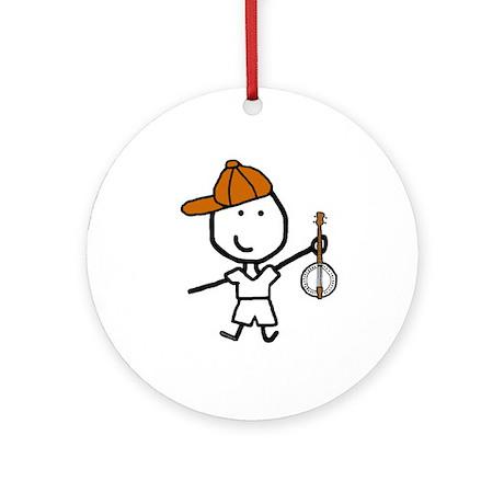 Boy & Banjo Ornament (Round)