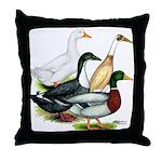 Duck Quartet Throw Pillow