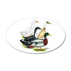 Duck Quartet 22x14 Oval Wall Peel