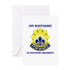 DUI - 1st Bn - 32nd Infantry Regt with Text Greeti