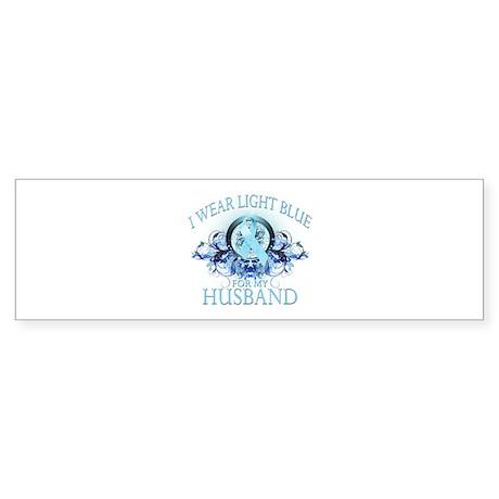 I Wear Light Blue for my Husband (floral) Sticker