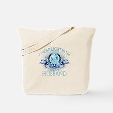 I Wear Light Blue for my Husband (floral) Tote Bag